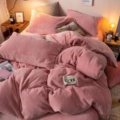 2019新款-ins网红华夫格法莱绒保暖四件套 床单款三件套1.2m(4英尺)床 艾伯特-豆沙