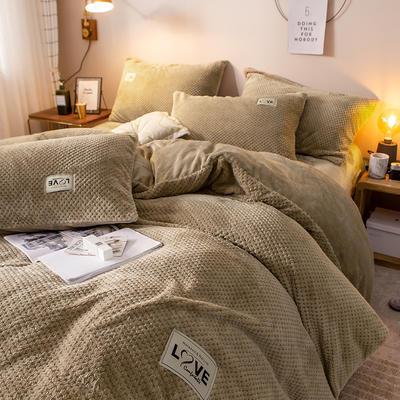 2019新款-ins网红华夫格法莱绒保暖四件套 床单款四件套1.8m(6英尺)床 艾伯特-卡其