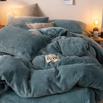 2019新款-ins网红华夫格法莱绒保暖四件套 床单款三件套1.2m(4英尺)床 艾伯特-蓝灰