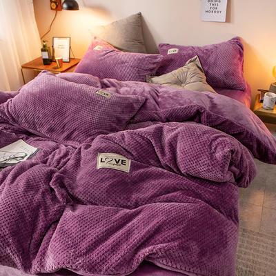 2019新款-ins网红华夫格法莱绒保暖四件套 床单款四件套1.8m(6英尺)床 艾伯特-魅紫