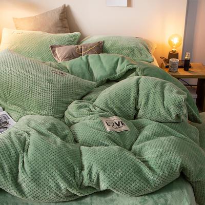 2019新款-ins网红华夫格法莱绒保暖四件套 床单款三件套1.2m(4英尺)床 艾伯特-墨绿
