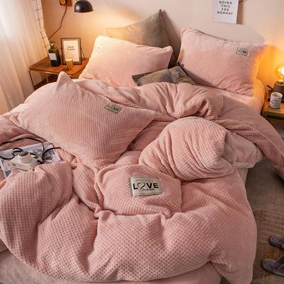 2019新款-ins网红华夫格法莱绒保暖四件套 床单款四件套1.8m(6英尺)床 艾伯特-浅粉