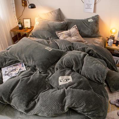 2019新款-ins网红华夫格法莱绒保暖四件套 床单款四件套1.8m(6英尺)床 艾伯特-绅士灰