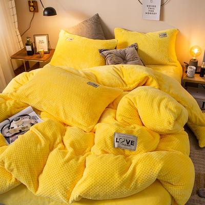 2019新款-ins网红华夫格法莱绒保暖四件套 床单款四件套1.8m(6英尺)床 艾伯特-雅黄