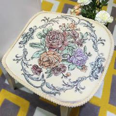 高精密提花椅子垫(牡丹花开) 47*47cm 牡丹花开—米色