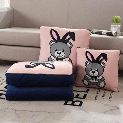 2019新款抱枕被-卡通绒款抱枕被ok 小号40*40打开105*145 兔子熊