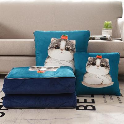 2019新款抱枕被-卡通绒款抱枕被ok 小号40*40打开105*145 番茄猫