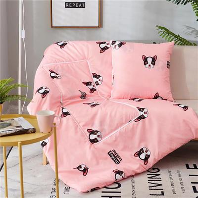 2018新款抱枕被-纳米印花抱枕被ok 小号40*40打开105*145 粉色红狗