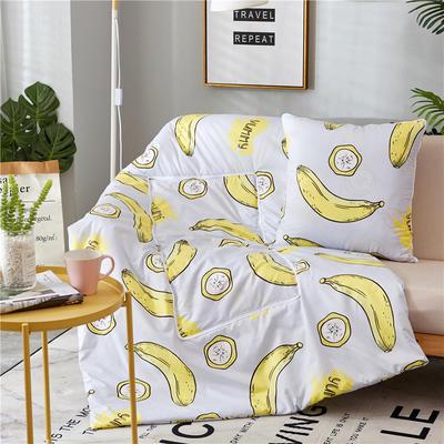 2018新款抱枕被-纳米印花抱枕被ok 中号45*45cm打开115*160 香蕉