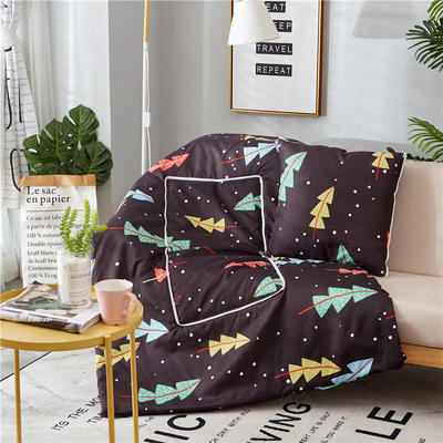 2018新款抱枕被-纳米印花抱枕被ok 中号45*45cm打开115*160 圣诞树
