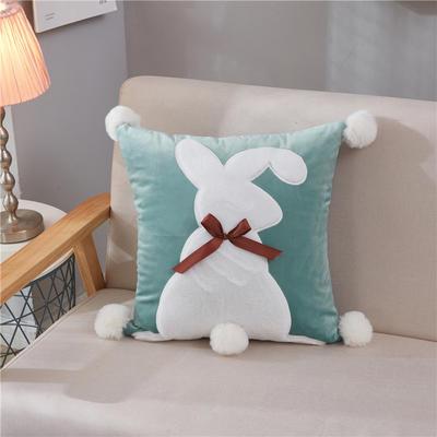 2018新款-兔子抱枕ok 45*45抱枕套子 蝴蝶结兔绿