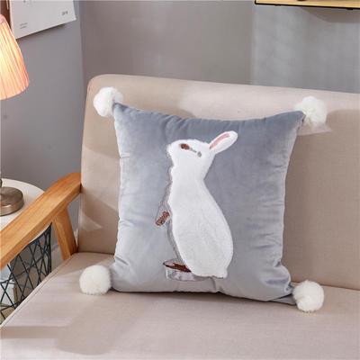 2018新款-兔子抱枕ok 45*45抱枕套子 站立兔灰