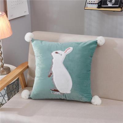 2018新款-兔子抱枕ok 45*45抱枕套子 站立兔绿