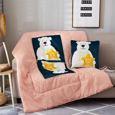 2018新款-数码绒抱枕被 40*40打开105*145 星星熊