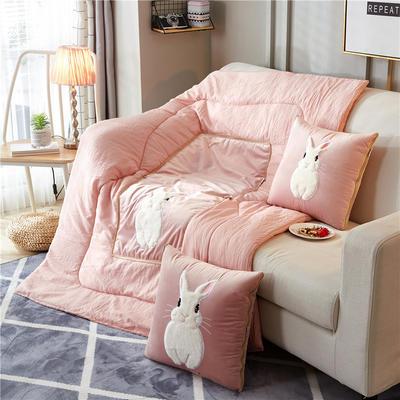 2018新款-兔子抱枕被ok 40*40打开105*145 胡须兔粉色