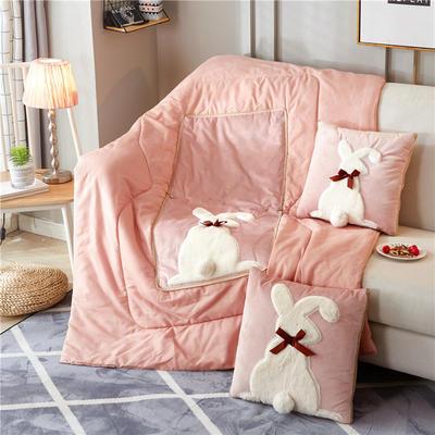 2018新款-兔子抱枕被ok 40*40打开105*145 蝴蝶结粉色
