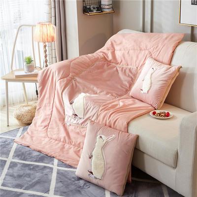 2018新款-兔子抱枕被ok 40*40打开105*145 站立兔粉色