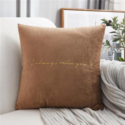 2018新款-意大利轻奢方形抱枕 45cm*45cm不含芯 驼色