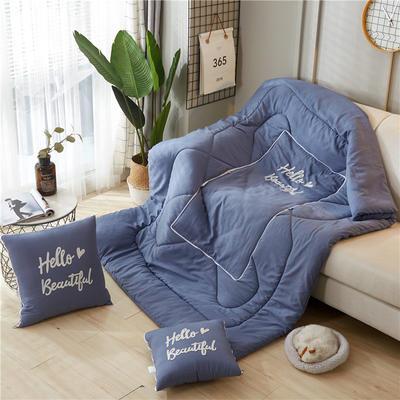 2019新款-毛巾绣抱枕被ok 40*40打开105*145 纯水蓝