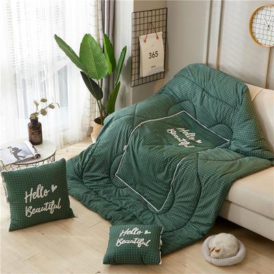 2019新款-毛巾绣抱枕被ok 40*40打开105*145 绿白格