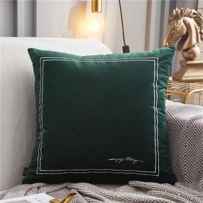 2020新款-双线刺绣抱枕ok 45*45cm皮子 翡翠绿
