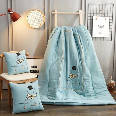 2020新款-幸福熊抱枕被ok 40*40打开105*145 天蓝色