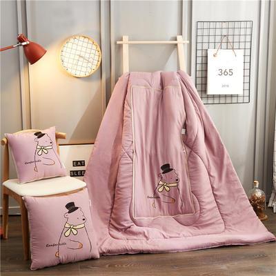 2020新款-幸福熊抱枕被ok 40*40打开105*145 紫粉色