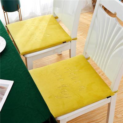 2019新款-金线刺绣天鹅绒坐垫ok 40X40cm 柠檬黄