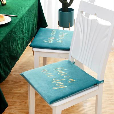 2019新款-金线刺绣天鹅绒坐垫ok 40X40cm 松石绿