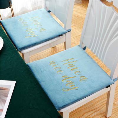 2020新款-金线刺绣天鹅绒坐垫ok 40X40cm 天空蓝