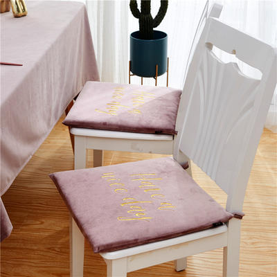 2020新款-金线刺绣天鹅绒坐垫ok 40X40cm 香芋粉