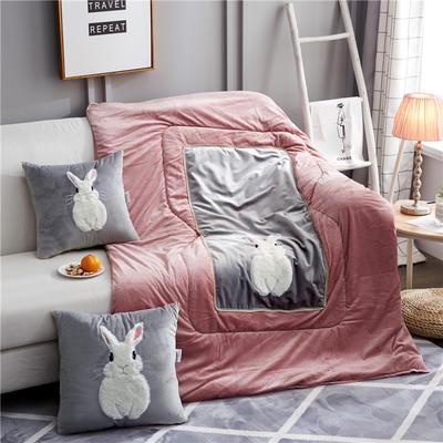 2019新款-全绒款兔子抱枕被ok 小号40*40打开105*145 全绒胡须兔灰