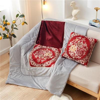 2020新款-欧式水晶绒抱枕被ok 45*45打开120*160 国色天香红色