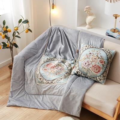 2020新款-欧式水晶绒抱枕被ok 45*45打开120*160 国色天香蓝色