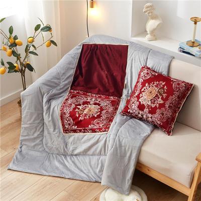 2020新款-欧式水晶绒抱枕被ok 45*45打开120*160 海棠花红色