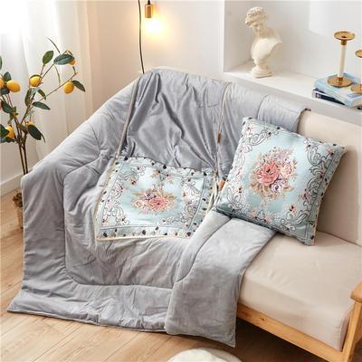2020新款-欧式水晶绒抱枕被ok 45*45打开120*160 海棠花蓝色