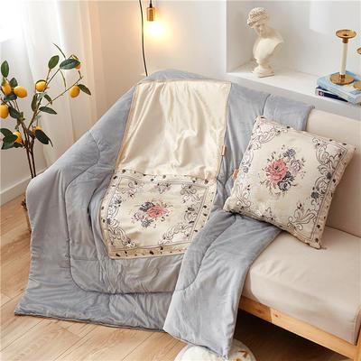 2020新款-欧式水晶绒抱枕被ok 45*45打开120*160 海棠花米色