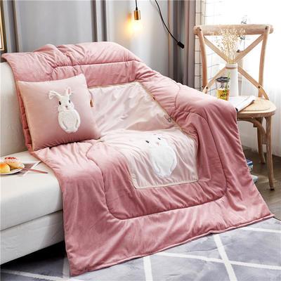 2019新款-水晶绒款兔子抱枕被ok 小号40*40打开105*145 胡须兔粉色