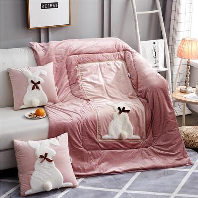 2019新款-水晶绒款兔子抱枕被ok 小号40*40打开105*145 蝴蝶兔粉色