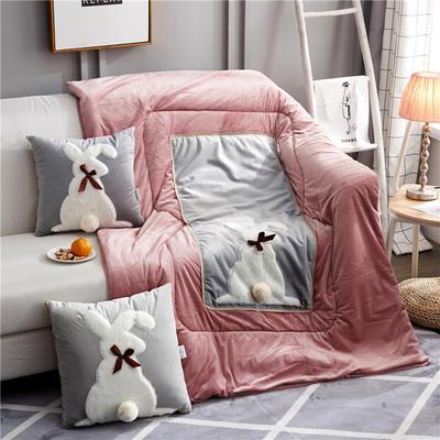 2019新款-水晶绒款兔子抱枕被ok 小号40*40打开105*145 蝴蝶兔灰色