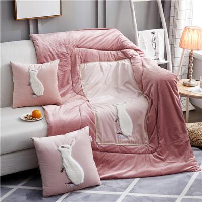 2019新款-水晶绒款兔子抱枕被ok 小号40*40打开105*145 站立兔粉色