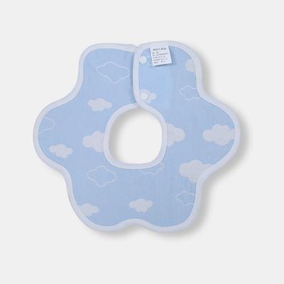 2017 新款儿童围嘴 2层云朵花围-蓝(30cm×30cm)