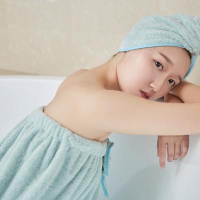 5色浴袍+头巾 均码 浴裙-浅草绿