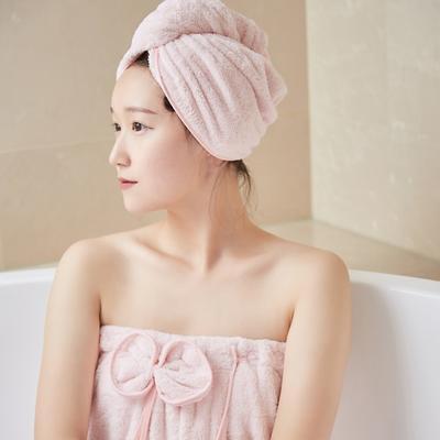 5色浴袍+头巾 均码 浴裙-浅粉