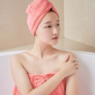 5色浴袍+头巾 均码 浴裙-西瓜红