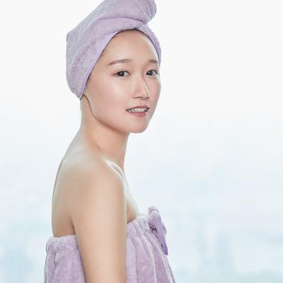 5色浴袍+头巾 均码 浴裙-香芋紫