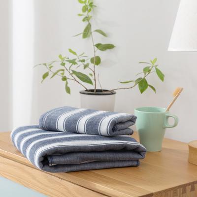 2018新款-条纹系列毛巾浴巾 MJ宽条纹-藏蓝毛巾35*75