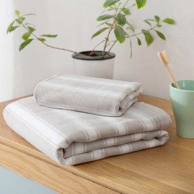2018新款-条纹系列毛巾浴巾 MJ宽条纹-灰毛巾35*75