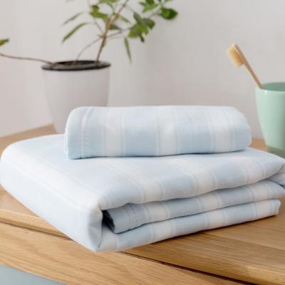 2018新款-条纹系列毛巾浴巾 MJ宽条纹-浅蓝毛巾35*75