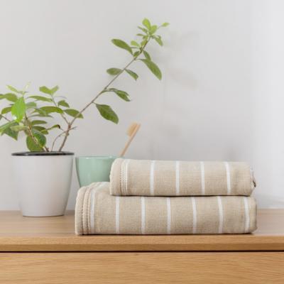 2018新款-条纹系列毛巾浴巾 MJ细条纹-卡其毛巾35*75
